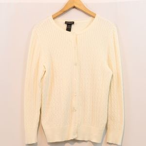 Lane Bryant Cream Cotton Cable Knit Cardigan